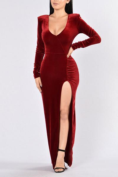 Sexy V-Ausschnitt Long Sleeves Side Split Red Samt bodenlangen Kleid