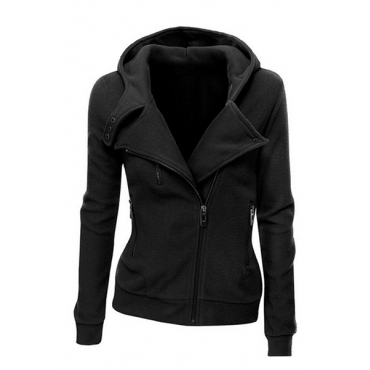 Stylish Hooded Neck Long Sleeves Zipper Design Black Cotton Jacket