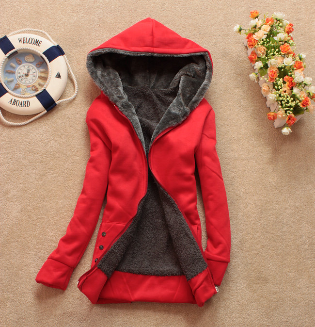 Winter Hooded Long Sleeves Zipper Design Red Polyester Coats