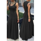 Fashion Boat Neck Sleeveless Ruched Black Cotton Floor length Dress