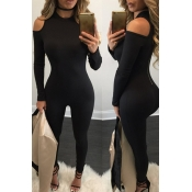 Contracted Style Round Neck Long Sleeves Hollow-o