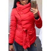 Stylish Long Sleeves Asymmetrical Red Cotton Parkas
