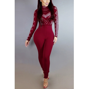 Stylish Round Neck Long Sleeves Printed Patchwork Wine Red Qmilch One-piece Skinny Jumpsuits