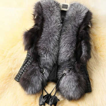 Trendy Sleeveless Faux Fur Decorative Black Vests