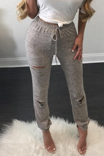 Leisure Elastic Waist Broken Holes Gray Cotton Blends Leggings