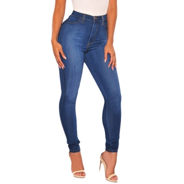 Contracted Style High Waist Dark Blue Cotton Skinny Pants