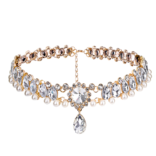 Fashion Rhinestone Decorative Gold Crystal Choker