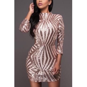 Sexy Mandarin Collar Long Sleeves Backless Gold Sequined Sheath Mini Dress
