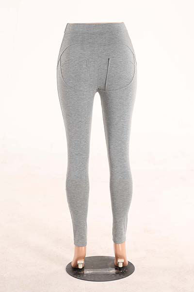 Stylish Mid Waist Polyester Patchwork Grey Polyester Leggings