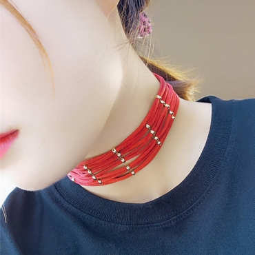 Fashion Multilayer Hollow-out Red Flocking Choker