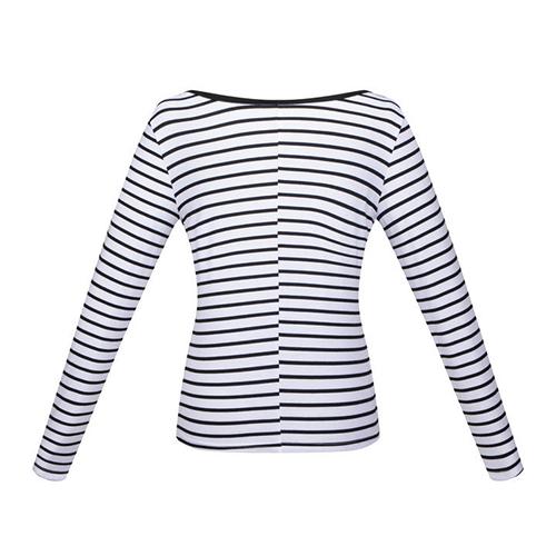 Leisure v neck long sleeves striped white cotton t shirt t for Long white v neck t shirt