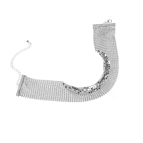 Retro Style Rhinestone Decorative Silver Metal Choker