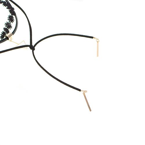 Euramerican Triangle Tassel Decorative Black Flocking Necklace