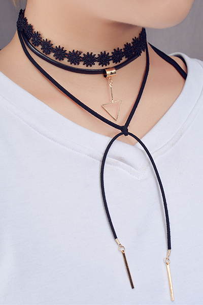 Euramerican Triangle Tassel Decorative Black Flocking Necklace