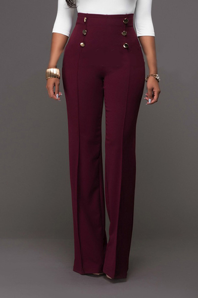 Pantalones De Poliéster Rojo Vino De Moda De Cintura Alta Cruzada De Doble Cintura