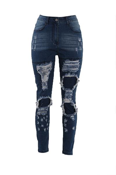 Trendy High Waist Broken Holes Blue Cotton Pants