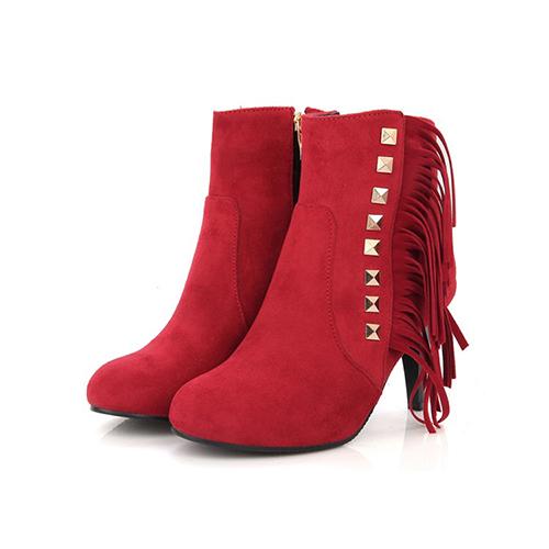 Stylish Round Toe Tassel Design Stiletto High Heel Botas de camurça vermelha