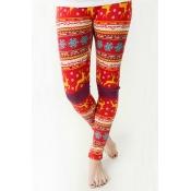 модные упругие талии лося + снежинки напечатанные красным PLE