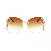 Stylish Rimless Tawny PC Sunglasses
