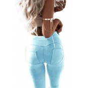 стильный середины талии полиэстер лоскутное синий polyest