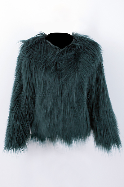 Trendy Round Neck Long Sleeves Fur Design Green Coat