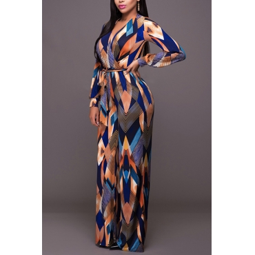 Euramerican V Neck Long Sleeves Color-block Patchwork Healthy Fabric One-piece Skinny Jumpsuits