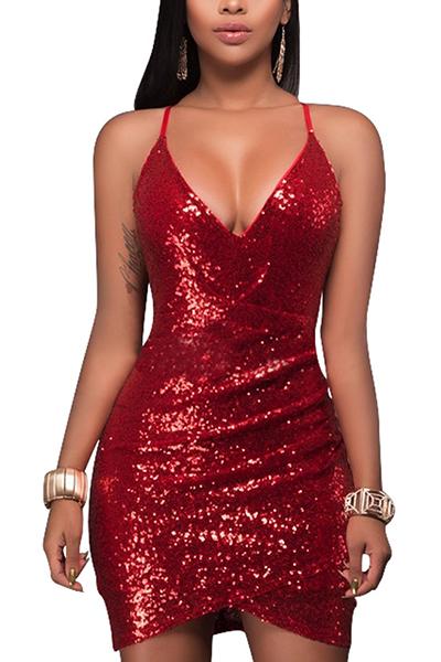 Euramerican V neck espaguete strap sem mangas sequined decorativas vermelho bainha mini vestido