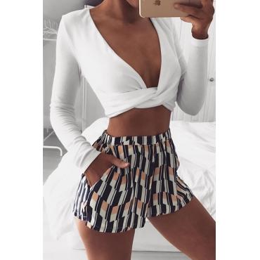 Sexy Deep V Neck Long Sleeves White Blending T-shirt
