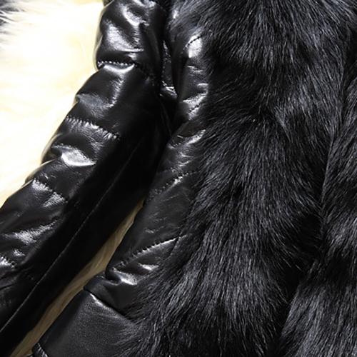Trendy Long Sleeves Patchwork Black Faux Fur Coat