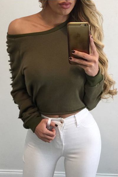 Sexy Round Neck Long Sleeves Hollow-out Green Polyester Blousing Blouse
