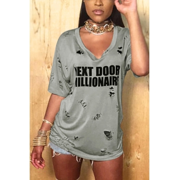 Euramerican V Neck Short Sleeves Broken Holes Grey Qmilch Mini Dress