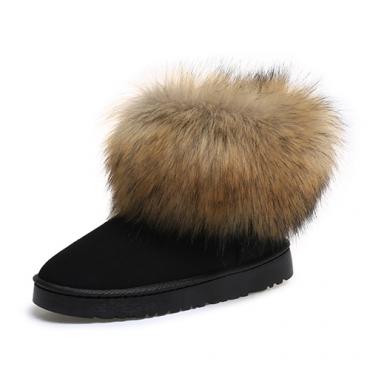 Модные Круглый Toe Мех Дизайн Плоский низкий каблук Черный Замша Короткие ботинки снега