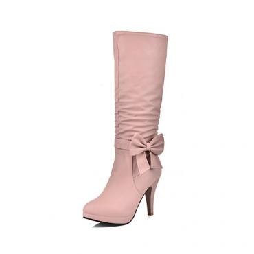 Стильный круглый дизайн носок молния + лук декоративный стилет супер высокий каблук розовый PU середины икры сапоги