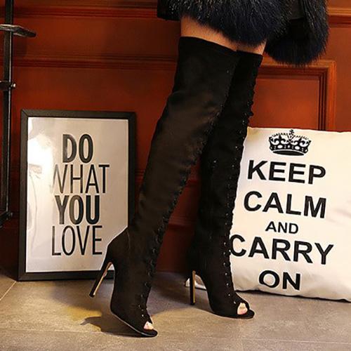 Elegante Round Peep Toe Stiletto Super High Heel Black Suede Boots