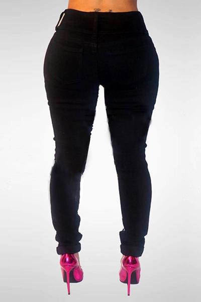 Stylish High Waist Sequined Decorative Black Denim Jeans