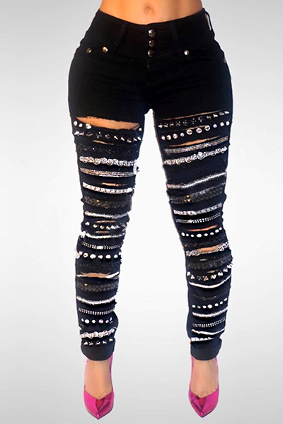 Stylish High Taille Sequined dekorative schwarze Jeans Jeans