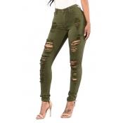 Euramerican High Waist Holes Design Green Cotton Jeans