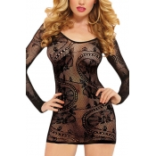 Sexy Round Neck Long Sleeves See-Through Black Lac