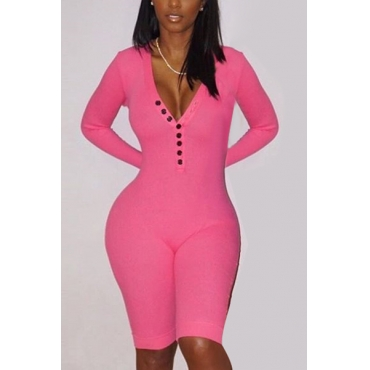 Contracted Style V Neck Long Sleeves Button Design Rose Red Cotton One-piece Skinny Jumpsuits