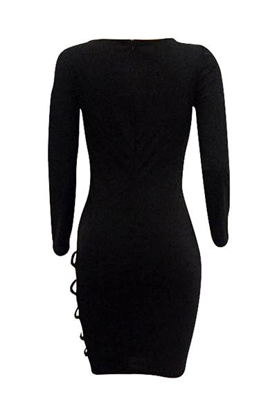 Sexy mangas compridas oca-out preto twilled vestido de cetim bainha comprimento do joelho