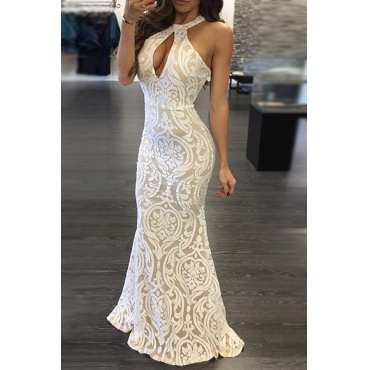 Sexy Round Neck Sleeveless Backless White Bud Silk Floor length Dress