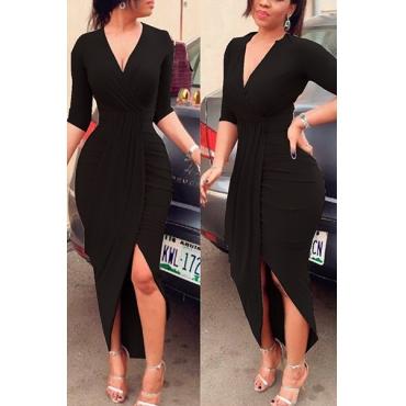 Sexy V Neck Half Sleeves Asymmetrical Black Polyester Sheath Mid Calf Dress