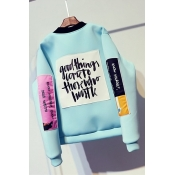 Leisure Round Neck Long Sleeves Printed Blue Cotton Coat