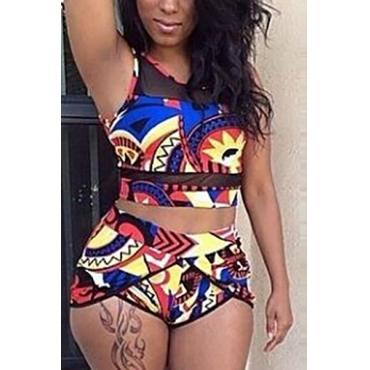 Charming Round Neck Printed Polyester Two-piece Swimwear