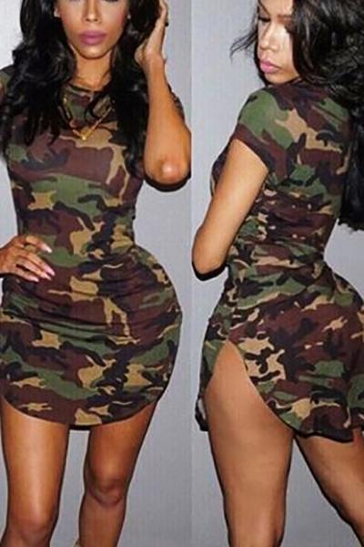 Lazer Rodada pescoço curto mangas camuflagem impressa bainha poliéster mini vestido