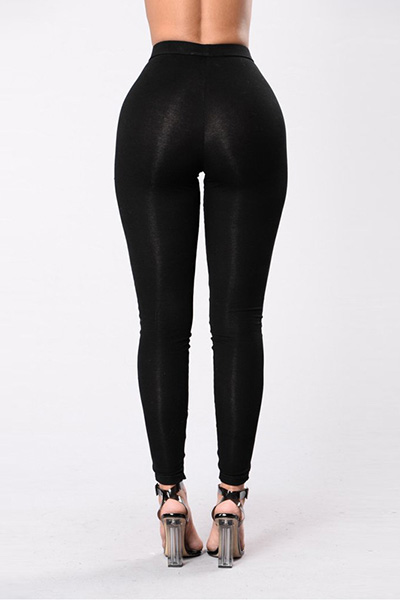 LovelyStylish High Waist Hollow-out Black Polyeste