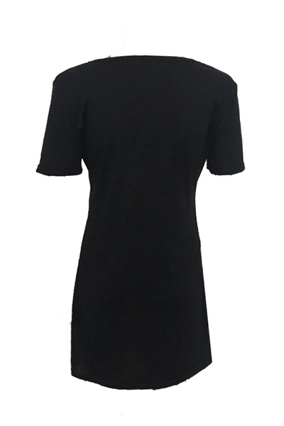 Algodão Moda O pescoço Half Sleeve Mini Vestidos