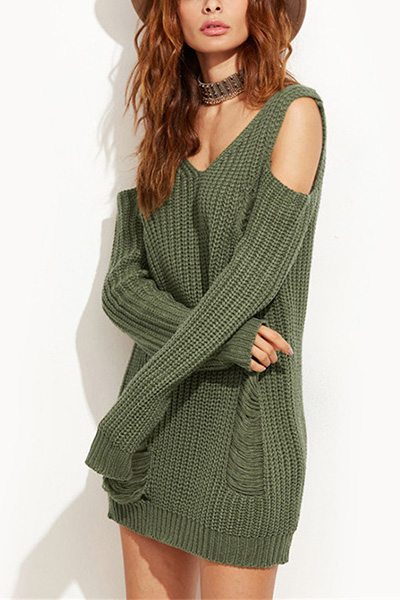 Acrylic V Neck Long Sleeve Long Pullovers Sweaters & Cardigans