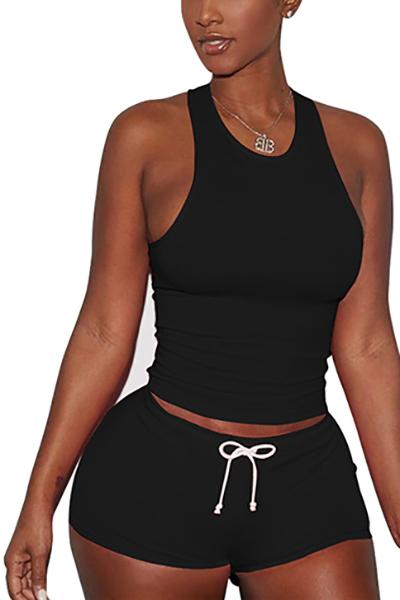 Black Algodão Blend Shorts Solid U Neck Sleeveless Casual Duas peças