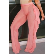 Polyester Solid Mid Boot Cut Pants Pants